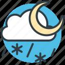 cold night, weather, cloud, snowfall, moon