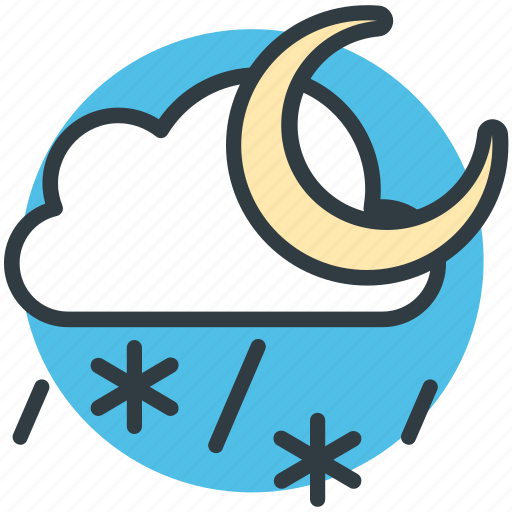 cloud, cold night, moon, snowfall, weather icon