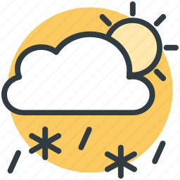 cloud, rain, snowfall, sun, weather icon