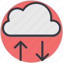 cloud, cloud computing, cloud hosting, down arrow, up arrow icon