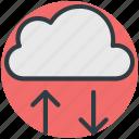 cloud hosting, cloud computing, up arrow, down arrow, cloud