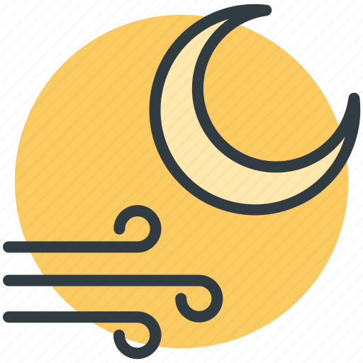 air element, astrology, moon, nighttime, winds icon