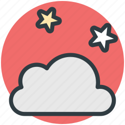 cloud, forecast, night, stars, weather icon