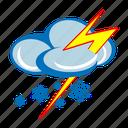forecast, lightning, snow, snow storm, snowing, weather, winter