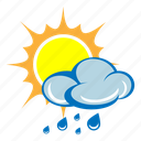 cloud, drizzle, rain, shower, storm, sun, weather icon