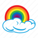 cloud, data, day, rainbow, storage, upload, weather icon