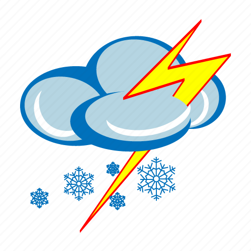 forecast, lightning, snow, snow storm, snowing, weather, winter icon
