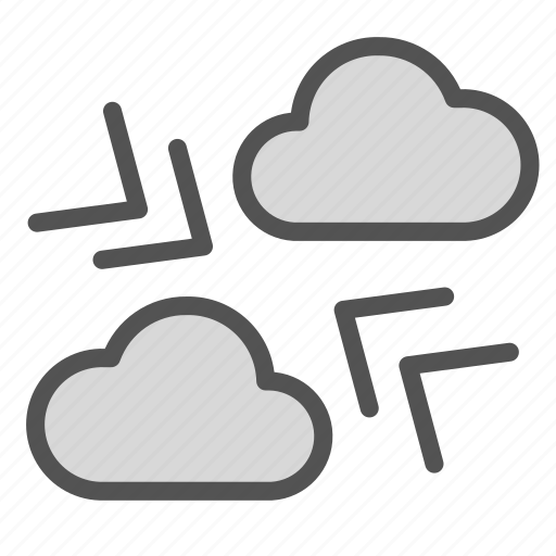 arrow, cloud, direction, storm, thunder, wind icon