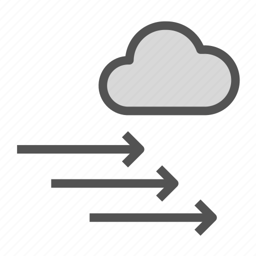 arrow, cloud, direction, right, wind icon