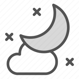 cloud, cold, moon, night icon