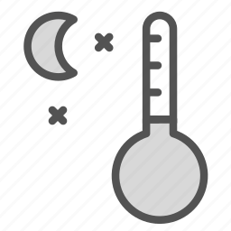 cold, moon, night, thermometer, winter icon