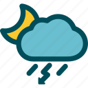 night, rain, rainstorm, thunderstorm, weather icon