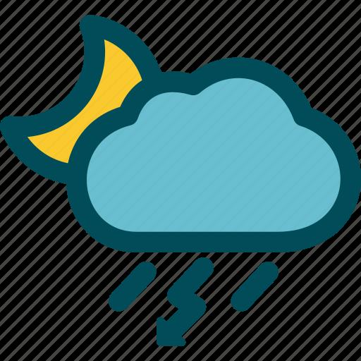night, rain, rainstorm, thunderstorm, weather icon