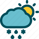 day, falls, mixed, precipitation, sleet, weather icon