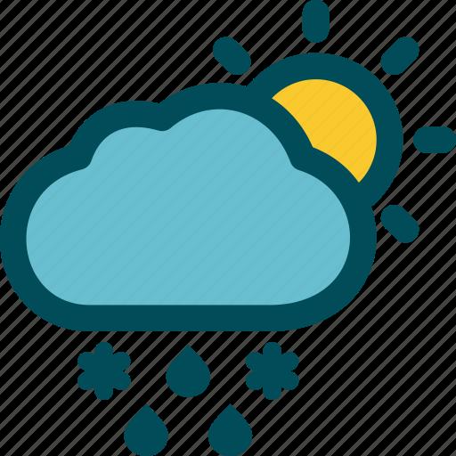 day, falls, mixed, precipitation, sleet, weather icon