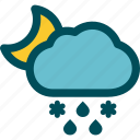 falls, mixed, night, precipitation, sleet, weather icon