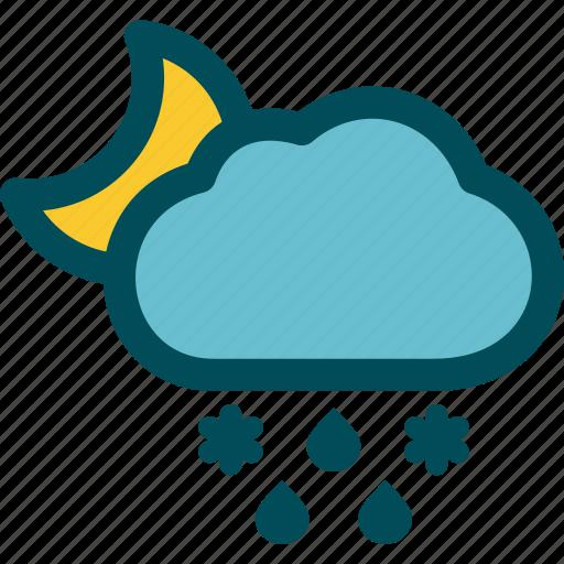 falls, mixed, night, precipitation, sleet, weather icon