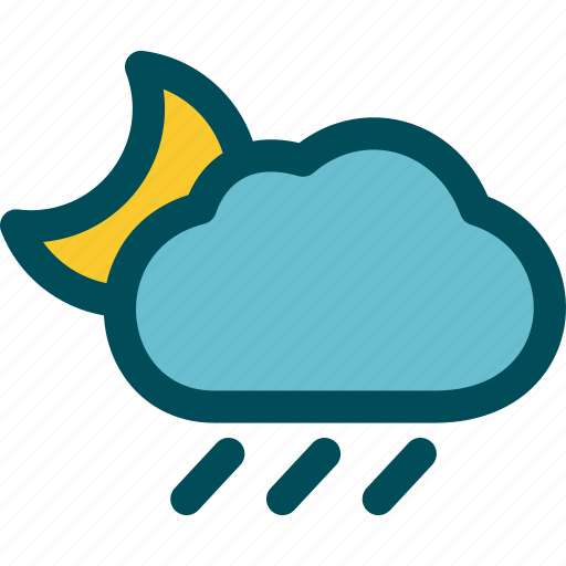 drizzle, night, rain, rainfall, rainy, weather icon