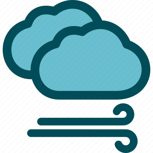 Clouds, breeze, gale, windy, weather, wind icon