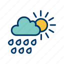 cloud with sun, rain, summer, weather icon