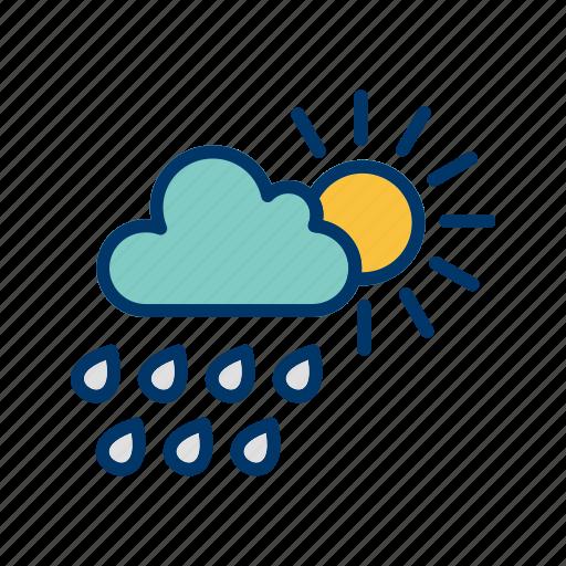 cloud with sun, rain, summer icon