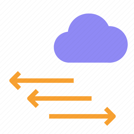 arrow, cloud, direction, left, right, wind icon
