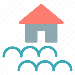 flood, house, water icon