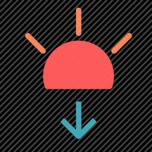 arrow, down, solar, sun icon