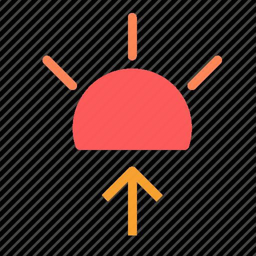 arrow, solar, sun, up icon