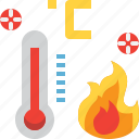 fire, forecast, hot, summer, temperature, thermometer, weather icon