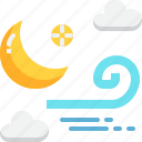 climate, forecast, moon, night, weather, wind, windy icon