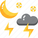 climate, crescent, forecast, moon, night, thunder, weather