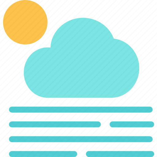 cloudy, day, fog, sun, weather icon