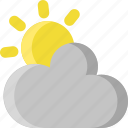 climate, cloud, cloudy, overcast, sky, sun, weather icon