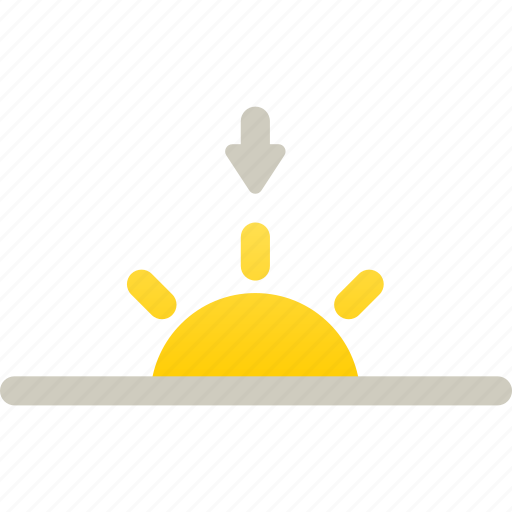 down, evening, sun, sunset icon