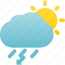 day, rain, rainstorm, thunderstorm, weather icon