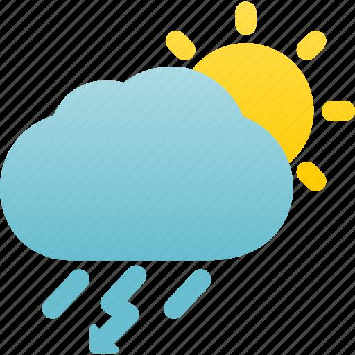 Weather, rainstorm, day, rain, thunderstorm icon
