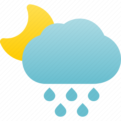 Rainfall, rainy, raining, rain, weather, night icon