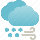 blizzard, blowing, snow, snowstorm, storm, weather icon