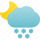 night, snow, snowfall, snowing, weather icon