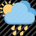 forecast, rain, season, sunny, weather icon