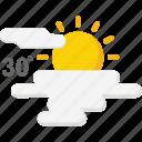 forecast, hot, season, sunny, weather icon