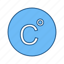 celcius, degrees, forecast, temperature, thermometer icon