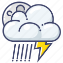 lightning, night, rain icon
