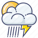 sun, rain, lightning