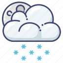 night, snow, weather icon