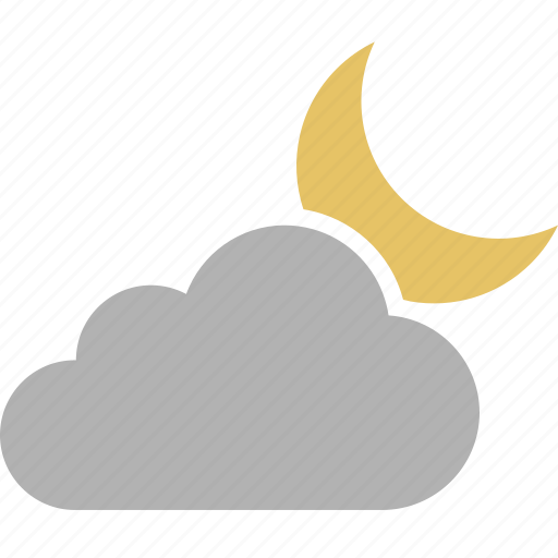cloudy, crescent, evening, moon, night, nighttime, weather icon