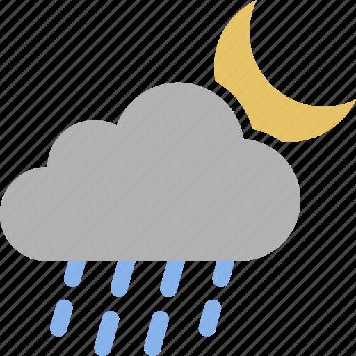 cloud, evening, moon, night, rain, raining, weather icon