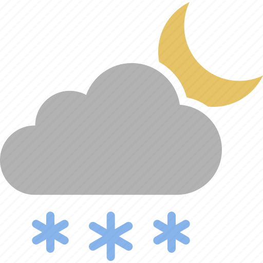 cloud, evening, moon, night, snow, snowing, weather icon