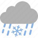 cloud, mixed, rain, raining, sleet, snow, weather icon